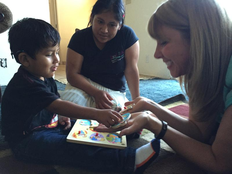 Karen Nalley Artalejo works with Samuel Lopez once a week at his home.  She is a deaf and hard of hearing specialist for the Monterey County Office of Education.   Partnering with BabyTalk has doubled the amount of time Samuel gets with a therapist.