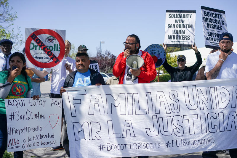 Activists joined farmworkers from both Mexico and Washington state at a protest held outside of Driscoll's headquarters in Watsonville.