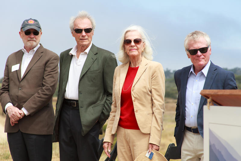 California Secretary of Natural Resources John Laird, Clint Eastwood, Maggie Eastwood and Supervisor Dave Potter at a press conference announcing the land gift.