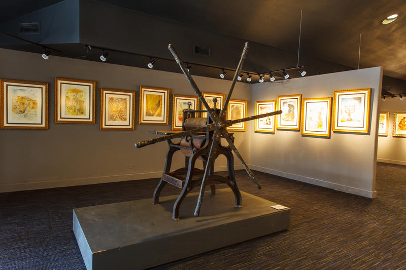 An etching press used by Dali and California artist Armin Hansen.