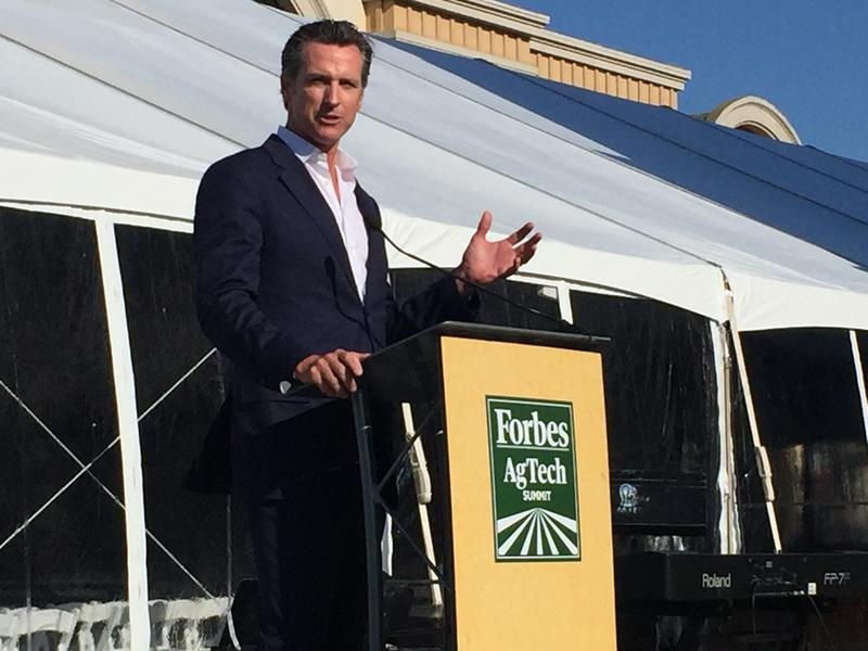Lt. Governor Gavin Newsom speaks at the Forbes Ag Tech Summit in Salinas.