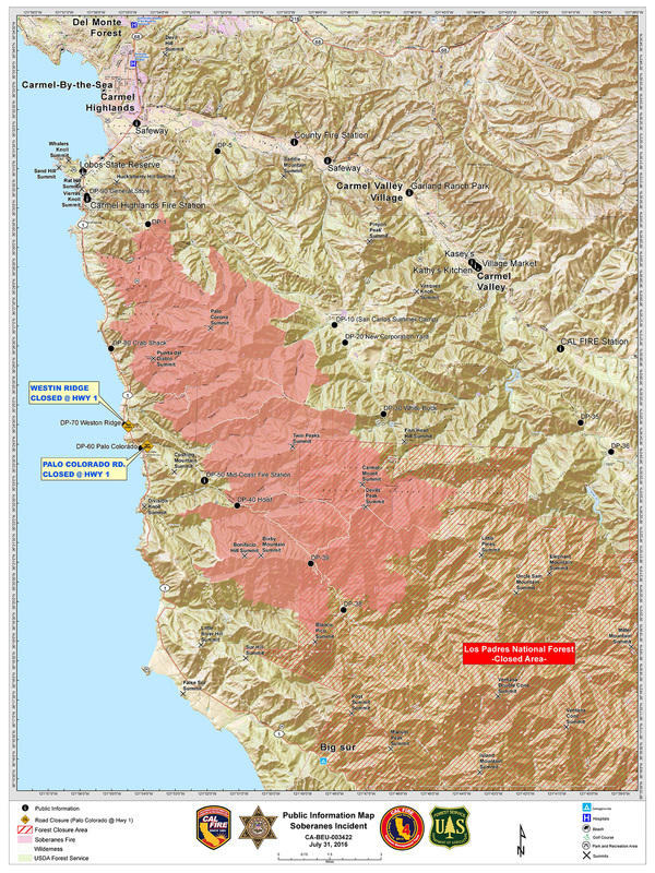 Soberanes Fire as of July 31st, Day 10 of the fire.