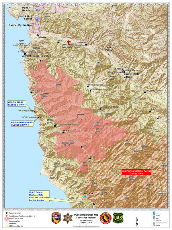 Cal Fire Map Today.Soberanes Fire Updates 132 127 Acres 100 Contained 90 3 Kazu