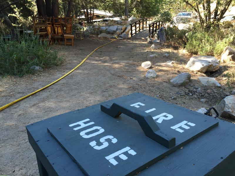 Fire hose has been laid strategically throughout the 10 acre property in preparation for the Soberanes Fire's arrival.