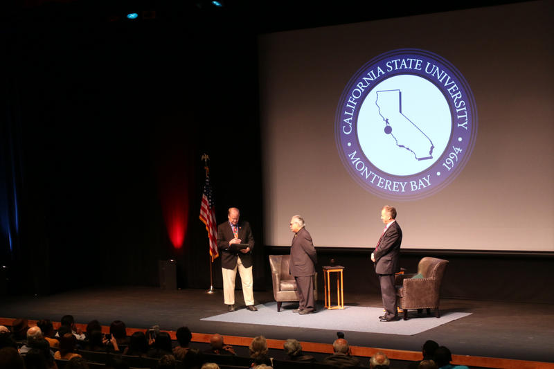 Congressman Sam Farr (left), Luis Valdez (center) and CSUMB President Eduardo Ochoa on stage at the World Theater.