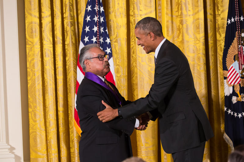 President Barack Obama presents the National Medal of Arts to Luis Valdez in a White House ceremony on September 22, 2016.