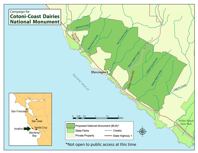 A map of the area in Santa Cruz County that could be added to the California Coastal National Monument.