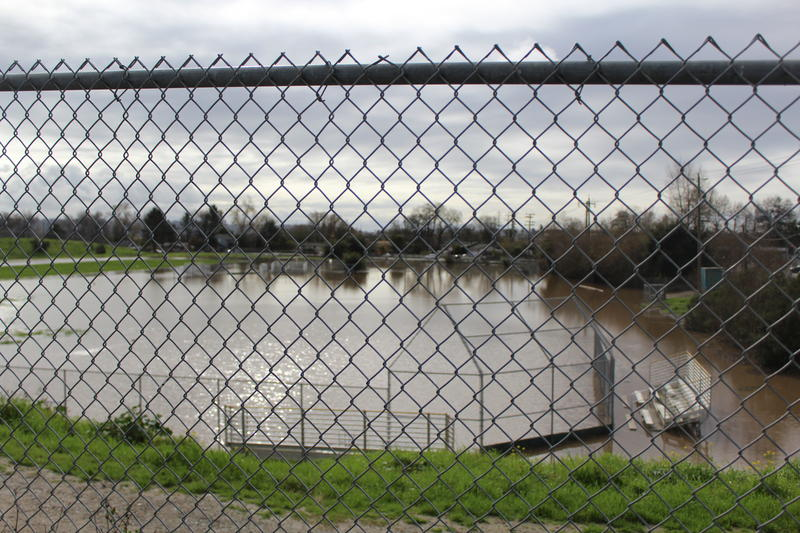 Sports fields at Lakeview Middle School in Interlaken are underwater.