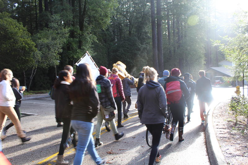 A group of UCSC students begins their march to the Clock Tower in downtown Santa Cruz.