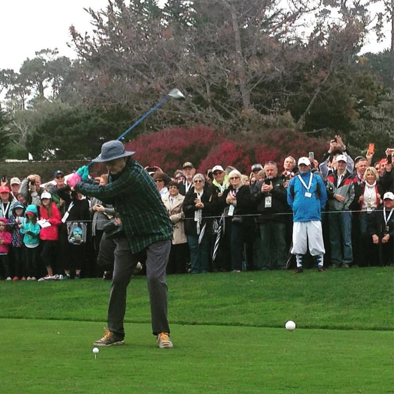 Bill Murray tees off in the 3M Celebrity Challenge at the AT&T Pebble Beach Pro-Am.