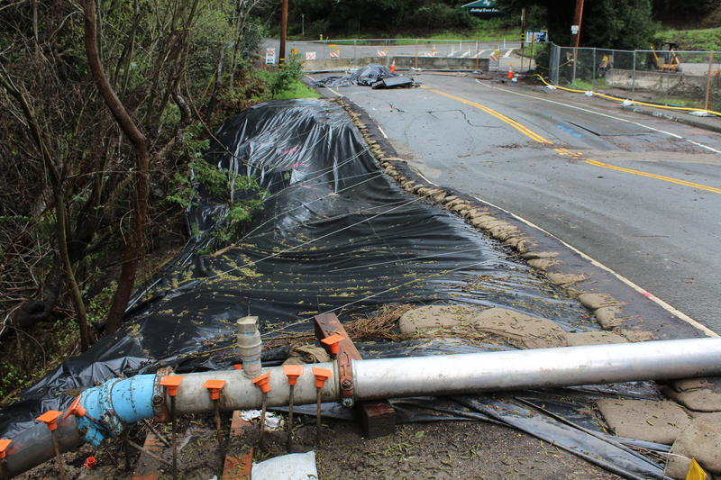 Another damaged section of Valencia Road in Aptos. This route is the main way to get to Valencia Elementary. The school has been temporarily closed due to the very long commute there now.