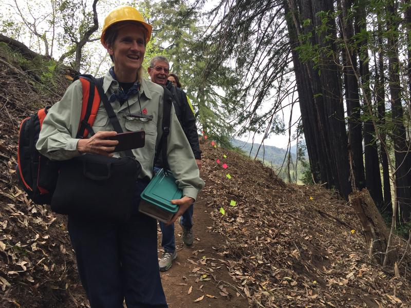 Big Sur residents Carissa Chappellet and Butch Kronlund on the trail under construction.