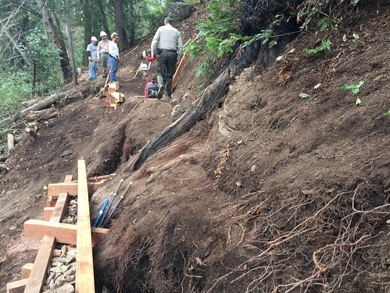 On Monday a retaining wall was under construction on the trail connecting the community of Big Sur.