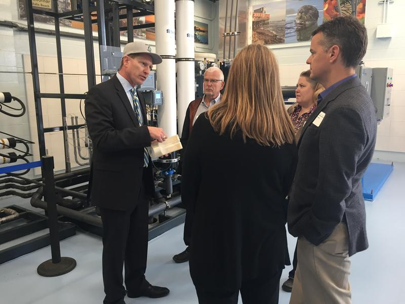 Mike McCullough gives a tour of the Pure Water Monterey demonstration facility in Marina.  The full scale version should be making water by May 2019.