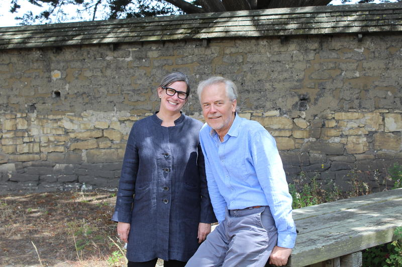 Katherine Malone-France, Vice President of the National Trust for Historic Preservation, and Doug Wiele, Founder of Foothill Partners, pose for a picture on the grounds of the Cooper-Molera Adobe.