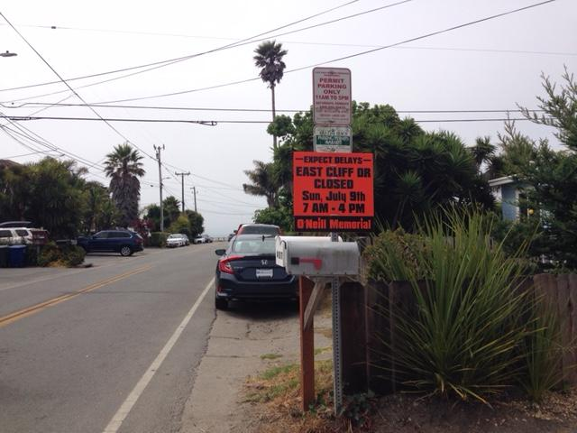 East Cliff Drive between 30th and 41st Avenue will be closed between 7 a.m. and 4 p.m. Sunday.