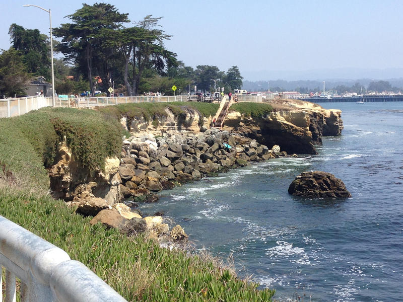 There are various types of seawalls. Pictured here, near Lighthouse Point Park in Santa Cruz, is what's called riprap. That means rocks stacked on the beach.