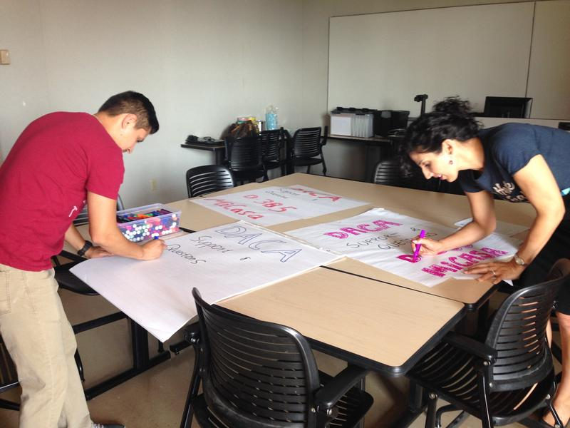 Staff at Hartnell College's Mi Casa Center made posters Tuesday to remind DREAMers that they are welcome on campus.