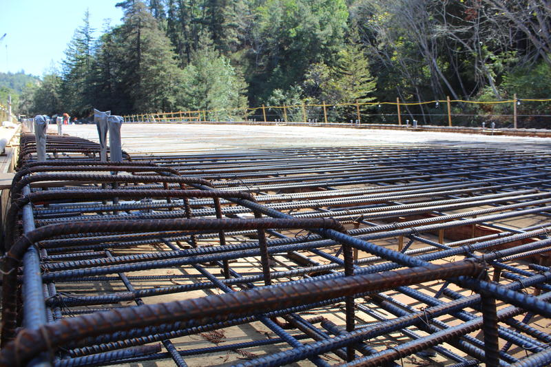 A look at the bridge's network of rebar.