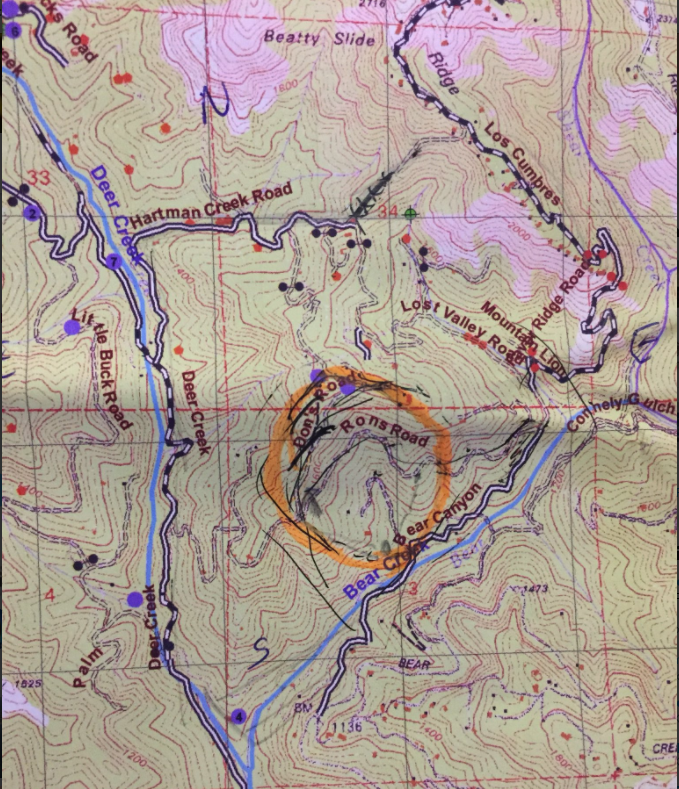 Bear Fire location circled on a map.