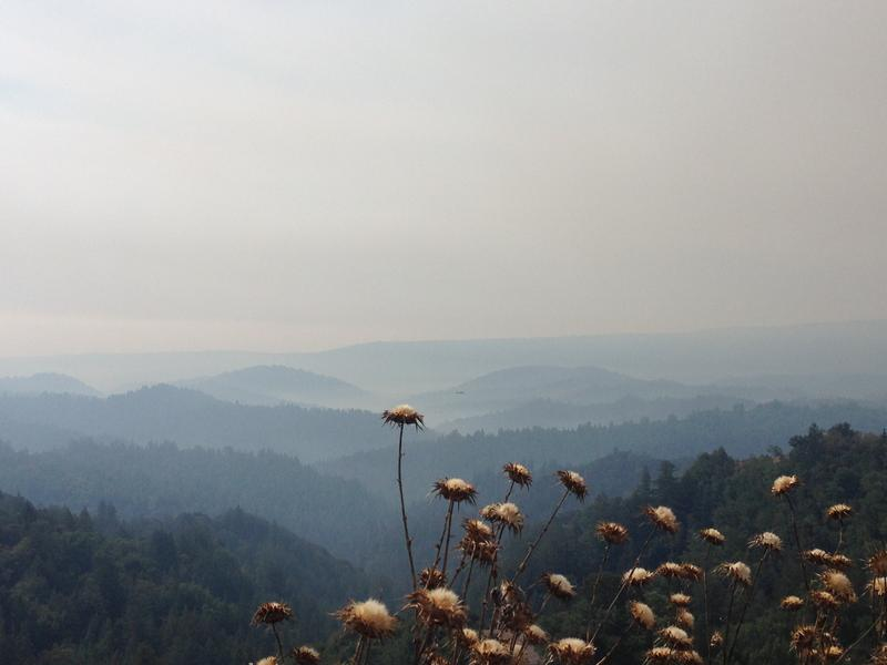Smoke from the Bear Fire lingers over the Santa Cruz  Mountains.