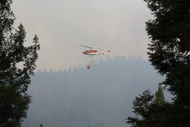 A helicopter carrying water flies to the Bear Fire burning in the Santa Cruz Mountains. On Tuesday, CalFire utilized nine helicopters.