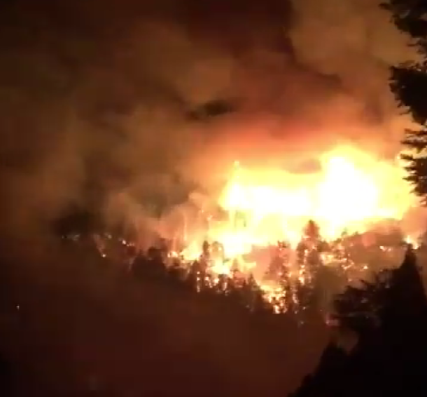 An aerial view of the Bear Fire, which started last night in the Santa Cruz Mountains.