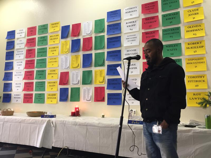 An annual memorial at the Santa Cruz Homeless Services Center honored the local homeless who died in 2017.
