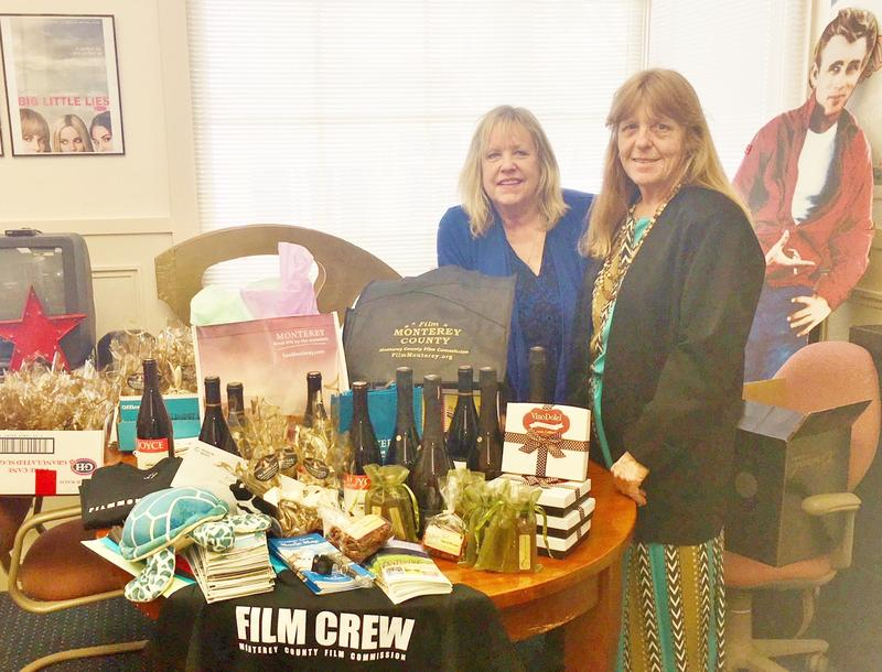 Monterey County Film Commission's Karen Nordstrand and Moira LaMountain put together gift bags for the Big Little Lies' cast and crew. They filled the gift bags with locally-made products.