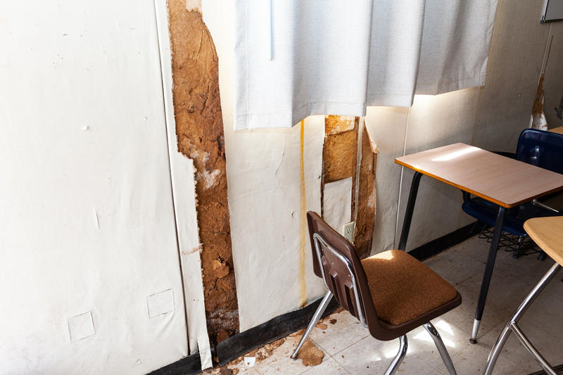 Damage to walls of mobile classroom at Seaside High School.  As of six months ago, this classroom can no longer be used.