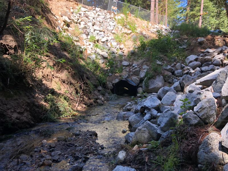 The culvert at Rocky Creek on Palo Colorado Road.  A replacement project will close a section of the road for about four months.