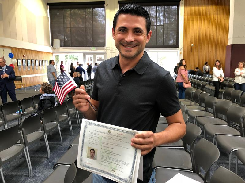 Originally from Mexico, Eduardo Gonzales became a U.S. citizen during a naturalization ceremony in Salinas.