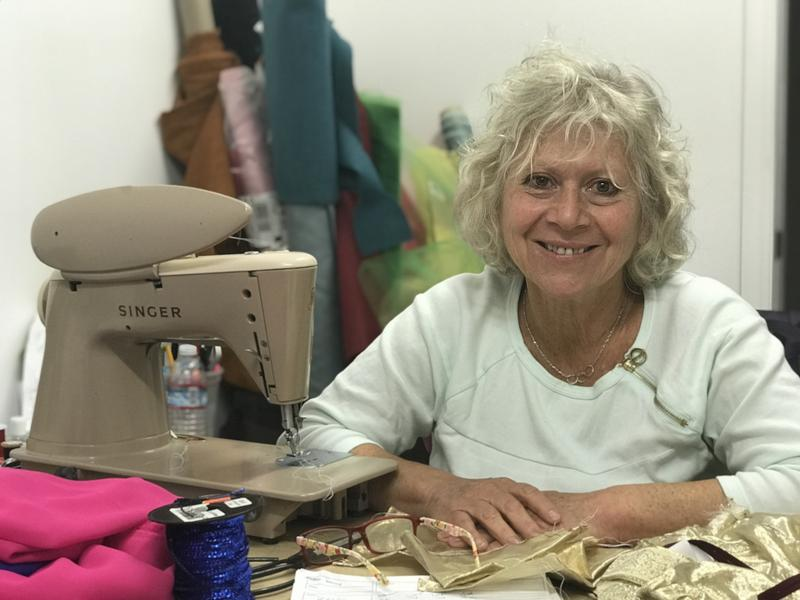 Pac Rep Costume Designer Ziona Goren works long nights in the Golden Bough Playhouse. Making costumes is time-consuming and often expensive, so she shares her work with local schools and other theaters.