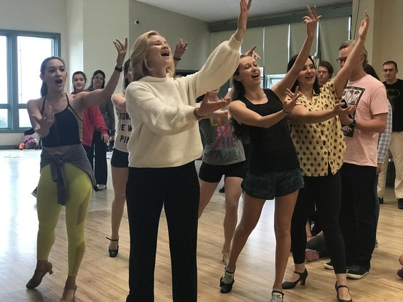 The show opens August 16, so the cast is busy rehearsing. Ariel's mermaid sisters practice their first number.