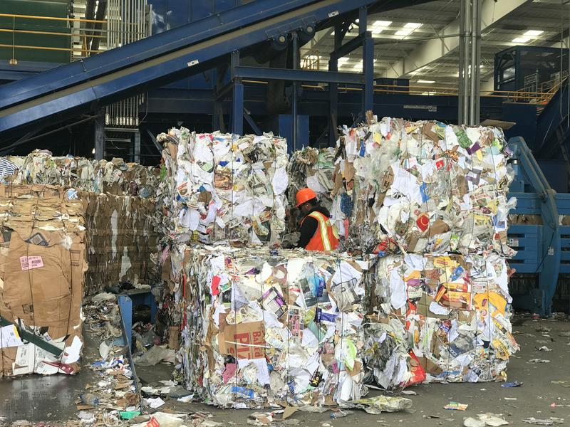 What can still be recycled from the recycling stream is compacted into pallets at the Materials Recovery Facility. Those pallets are sold to resuse companies in California, Alabama and Georgia.
