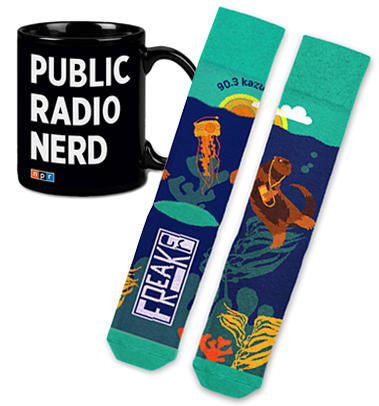 KAZU Otter Socks and Public Radio Nerd Mug combo