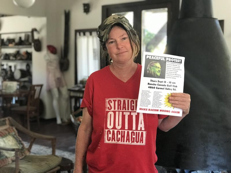 Carmel Valley resident Siobhan Wolfe helped organize the protest against Arpaio's visit.
