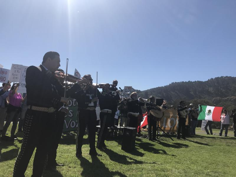 This demonstration was also a celebration of Latino culture. A Mariachi band performed and there was a taco truck.