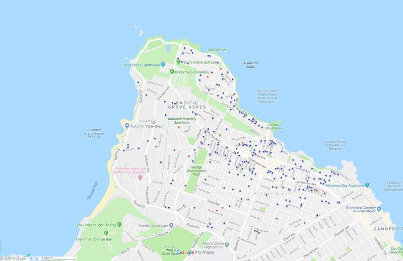 Blue dots indicate short term rentals in Pacific Grove.