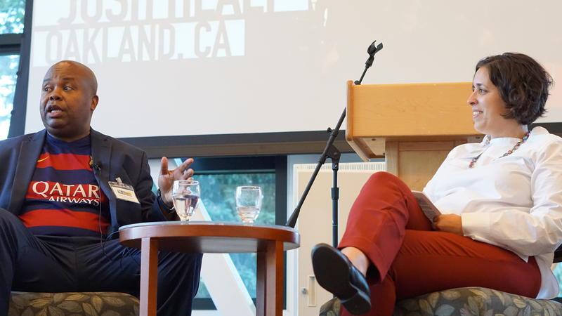 Glynn Washington and Krista Almanzan at KAZU Salon Event
