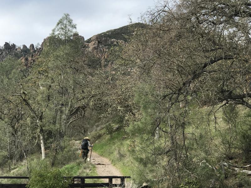 Park Ranger John Donham fixes a trail at Pinnacles. There's a backlog of work.
