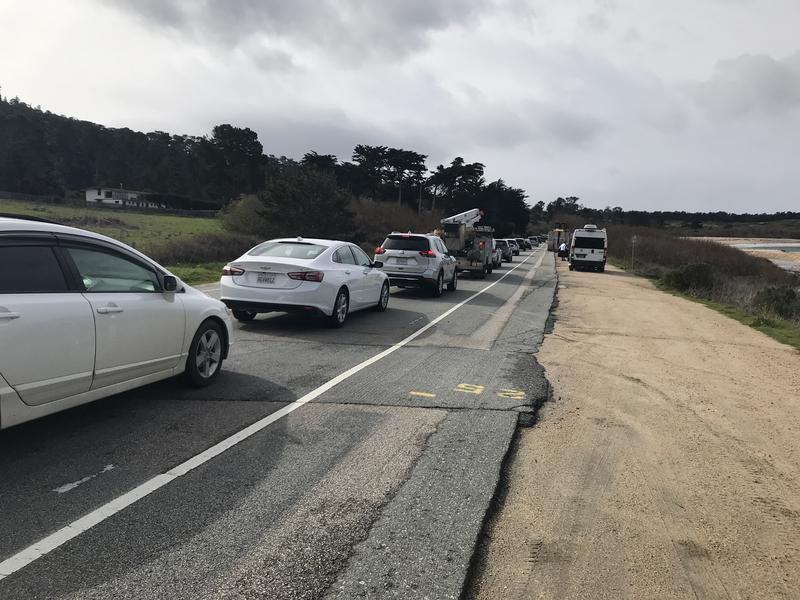 Traffic was backed up to Monastery Beach, about a mile away.