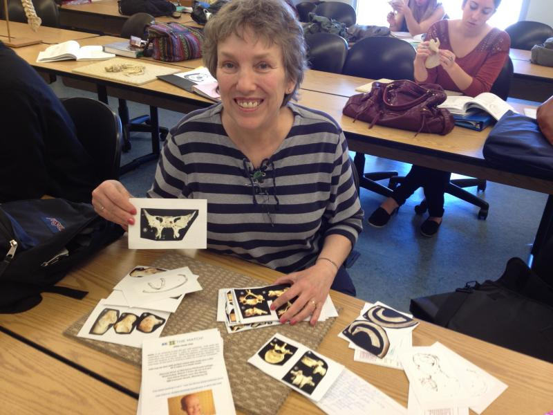 Nan Lansdowne reviews flash cards for an upcoming bone exam.  She's a nursing student at Monterey Peninsula College.