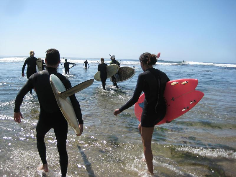 Surfers walk in the low tide waters at Pleasure Point.