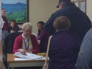 Homer residents wait to cast ballots