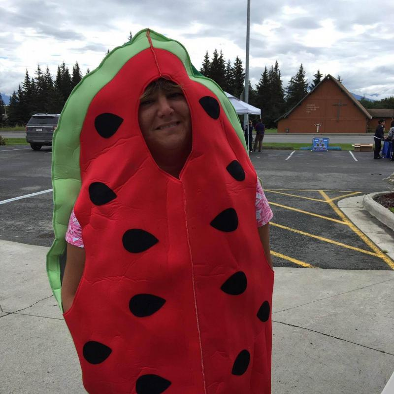 Seldovia Village Tribe Assistant Director, Trinket Gallien, dressed up as a watermelon to attract people to the community health center's event.
