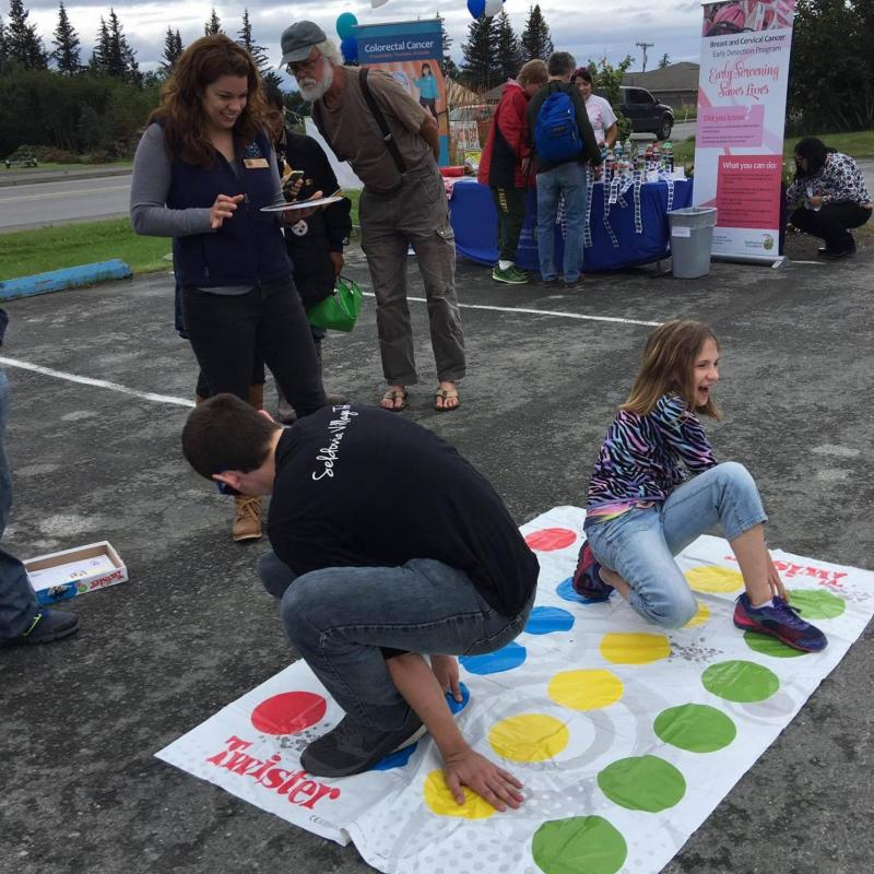 Some people who attended the event at SVT Health and Wellness played Twister.