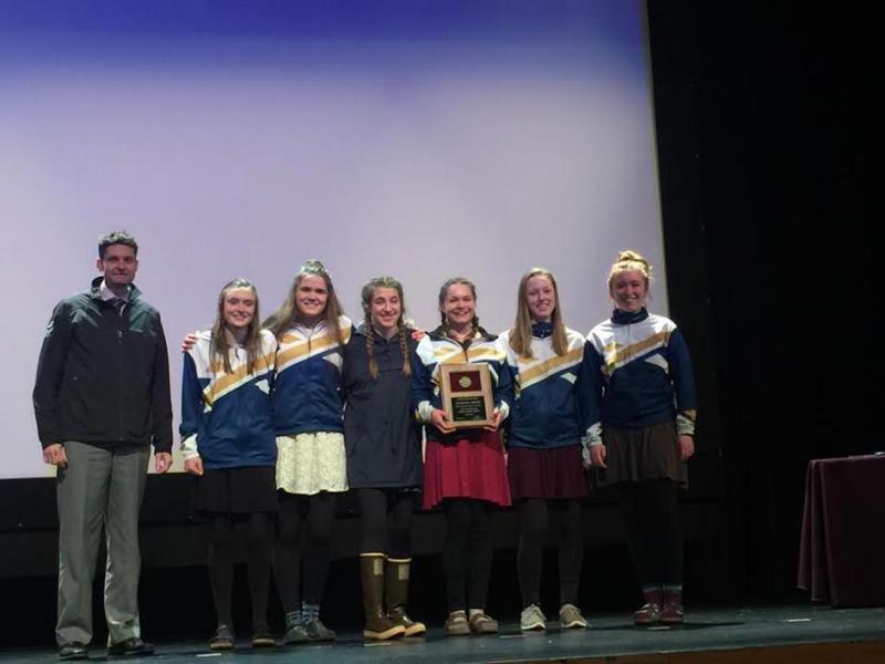 The Homer High Girls Ski team winning the G.P.A. award.