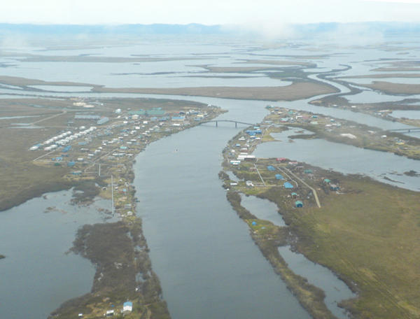 Aerial view of the village of Selawik located on a delta east of Kotzebue in Northwest Alaska.