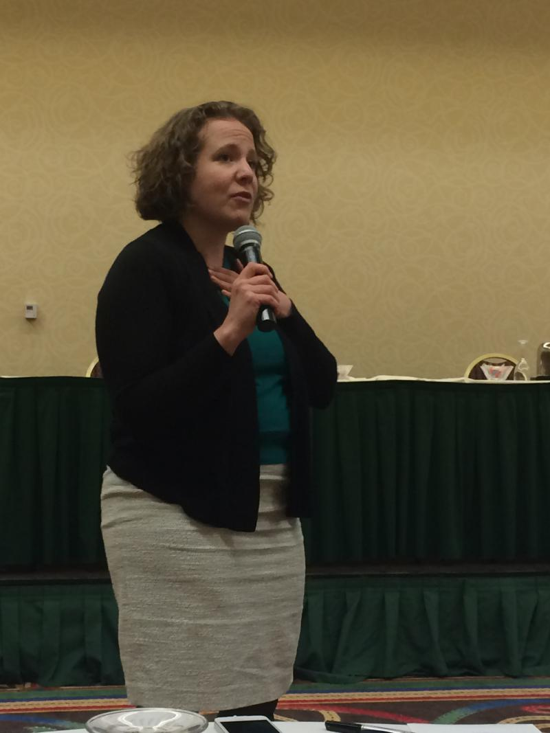 Sarah Gustavus giving an overview of National Programming.